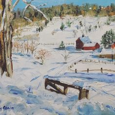 Snowy Farm, Vermont oil painting by Kay Crain, painting by artist Kay Crain