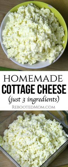 Homemade Cottage Cheese Recipe An absolutely delicious recipe for homemade cottage cheese that's simple to make at home with just three ordinary ingredients. Vegan Cottage Cheese, Cottage Cheese Dips, Homemade Cottage Cheese, Homemade Cheese, Homemade Recipe, Healthy Cottage Cheese Recipes, Cottage Cheese Breakfast, Goat Milk Recipes, Real Food Recipes