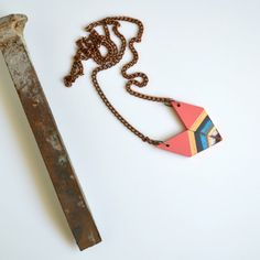 Yuchi Arrowhead Chevron Geometric Tribal Necklace in Salmon Pink, Metallic Gold, Turquoise and White