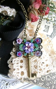 Antique Brass Style Skeleton Key Necklace Enamel Florals Crystals Purple Lilac by TheVintageHeart