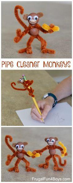 Kids Craft: Pipe Cleaner Monkeys #kidscrafts