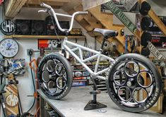 Cold hard art custom single sided bmx bicycle with weld racing dragster wheels and sl7cks