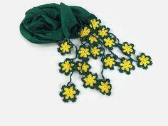Dark  Green Silk Scarflette  Silk scarf with crochet by Nakkashe