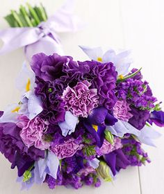 Your Irresistible Iris, Statis, and Carnation Bouquet. Absolutely LOVE this purple bouquet and you can make it yourself. GO DIY Bouquets!