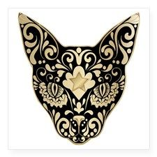 Gold and black mystic cat Square Sticker x by Doesitreallymatter - CafePress Car Bumper Stickers, Cat Stickers, Gold Skull, Skull Art, Feather Tattoos, Body Art Tattoos, Tatoos, Sugar Skull Cat, Sugar Skulls