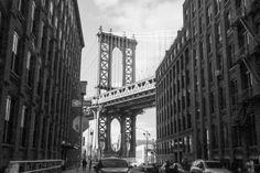 New York, Blick auf Manhattan Bridge von Brooklyn aus