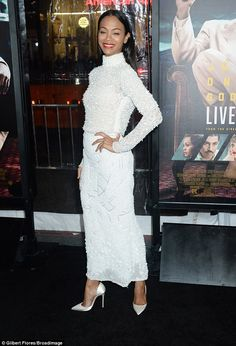 Angelic: Zoe Saldana stunned on the red carpet for the premiere of her film Live by Night in a white, textured top and matching skirt