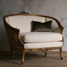 Eloquence One of a Kind Vintage Settee Curving Frame Gold Gilt