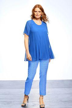 Bluse aus plissiertem Chiffon - umspielt gezielt breite Hüften #plussize#ullapopken