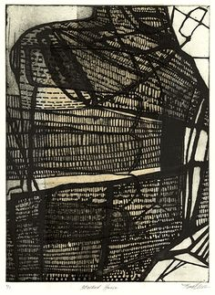 Kim Van Someren Stacked House etching/aquatint/chine colle