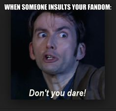 When someone insults my fandom, David Tennant flips out. #Doctor Who meme #fangirl