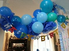 Baloon tissue flowers party streamers birthday garland