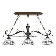 Springdale Lighting Tiffany Iron 3-Light Hanging Antique Bronze Chandelier-STH11040 at The Home Depot