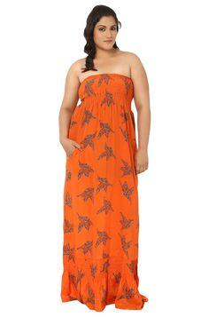 LastInch Orange Maxi Dress. A perfect beach as well as evening wear.