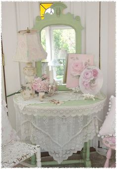 Shabby chic pink and green, lace and roses, collectibles display. #rose love.