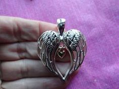 Angel bird wing gold heart pendant and earring set