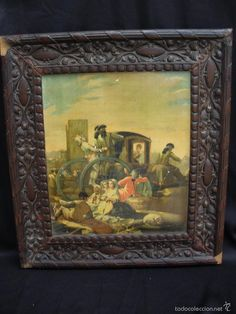 Litografía de Goya El Cacharrero con marco de caoba tallado restaurar 1900