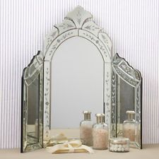 NEW Venetian Style Etched Glass TriFold Vanity Table Top Makeup Mirror E1