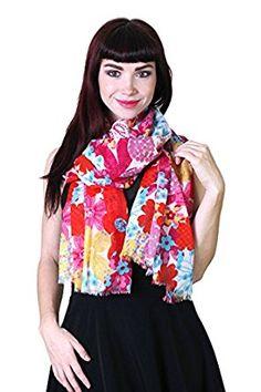 Anika Dali Women's Kalei Colorful Hawaiian Floral Scarf, Soft Cotton at Amazon Women's Clothing store: Fashion Scarves