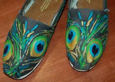 Custom TOMS  Large Peacock Feathers price by PurpleLizardStudio, $110.00