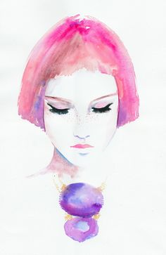 Fashion Illustration, Watercolour Fashion Illustration - Titled: Roze. $300.00, via Etsy.