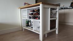 IKEA Valje Shelf Unit Hacked and customized into bar cabinet and placed under an IKEA Stenstorp kitchen island