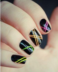 Neon black nails