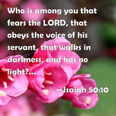Isaiah 50:10 Who is among you that fears the LORD, that obeys the voice of his servant, that walks in darkness, and has no light? let him trust in the name of the LORD, and stay on his God.
