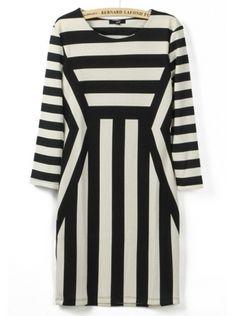 black white stripe round neck long sleeve dress