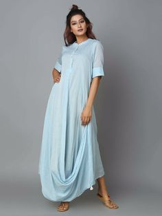 Drape kurti M to xxl size available For place an order call or WhatsApp on 8802522494 Trend Trendy Top Summer Clothes Makeup Outfits Shirts Shoes Pants Kurta Designs, Blouse Designs, Indian Designer Outfits, Designer Dresses, Indian Dresses, Indian Outfits, Hijab Stile, Draped Dress, Cotton Dresses