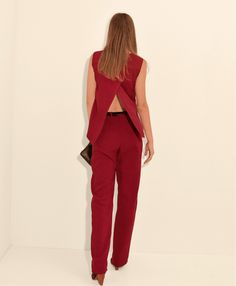 Red Jumpsuit designed with a wrap front and has a dramatic cape-effect back. Suitable for casual and special occasions. #stylatifashion #jumpsuits #trends #2016 #fashion #style