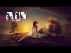 Making Girl & Lion Photo Manipulation Scene Effect In Photoshop - YouTube