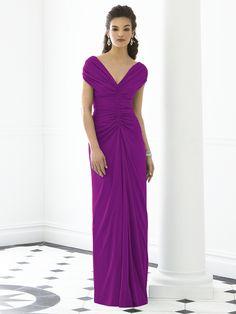 Short-Sleeve Ruched-Ruffles V-neck Purple Empire Zipper-Back Column-Sheath Floor-length Chiffon Bridesmaid Dress