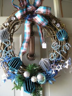 Hanukkah/Chanukah Wreath by EightTreeStreet