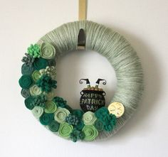 St Patricks Day Wreath, Shamrock Green Wreath, Pot of Gold Wreath, 10 inch Size. $38.00, via Etsy.