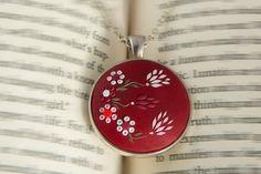 Burgundy necklace Red Art Deco bordeaux by LandOfJewellery on Etsy