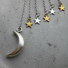 Arabian Collection - Badra - silver ear cuff with silver moon gold and silver stars