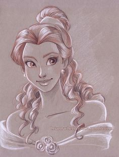An absolutely beautiful drawing of Belle from Beauty and the Beast, Disney