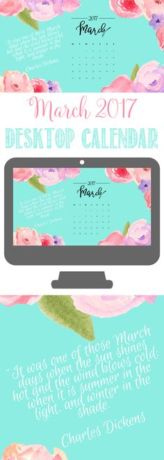 March 2017 Watercolor Desktop Calendar | Free Desktop Calendar