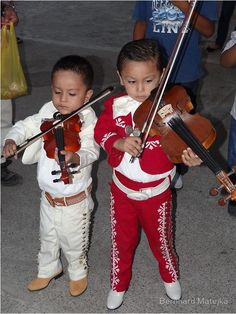 Mariachi kids - All children are beautiful but we especially enjoy the Mexican children wearing traditional clothing - for more of Mexico visit www.mainlymexican... #Mexico #Mexican #children #beauty