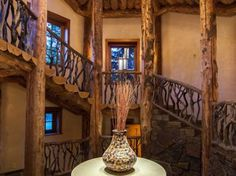Staircase for log cabin