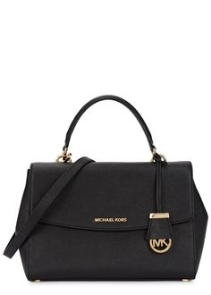 fe01d09ea4e8 Michael Kors black saffiano leather satchel Top handle