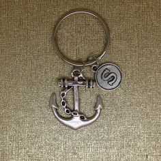 Anchor keychain, sheet anchor  keychain, marine charm, naval  jewelry, silver plated initial disc keychain,  friend gift. by AgouraDesign on Etsy