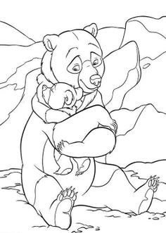 Printable Brother Bear Hug Coloring Pages - color new art works, great way to welcome the new year, for all us kidz {:-)