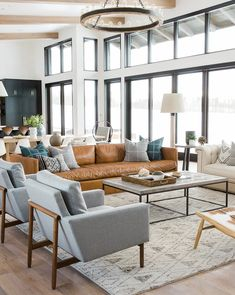 What lamp for my living room? Home Interior, Home Living Room, Interior Design Living Room, Interior Livingroom, Windows In Living Room, Living Room Couches, Room And Board Living Room, Wall Of Windows, Living Spaces Rugs