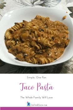 "Taco Pasta is a tasty one-dish dinner is a fun take on ""Taco Tuesday"" and can easily be made  according to you & your family's tastes."