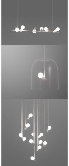 "Nice: Shanghai-based designer Zhili Liu's lighting series was inspired by gatherings of birds, which becomes obvious when you see them. Up above are models entitled Sparrow, Nightingale and Dove, respectively. (We especially like the ""bird in a cage"" design of the Nightingale.) The designer came up with the concept circa..."