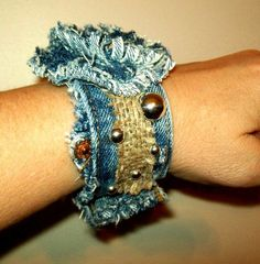Blue jean denim cuff bracelet