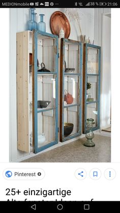 love these cabinets made from old windows, very simple and shabby chic (website . - love these cabinets made from old windows, very simple and shabby chic (website … - Baños Shabby Chic, Cocina Shabby Chic, Shabby Chic Kitchen, Shabby Chic Homes, Shabby Chic Furniture, Diy Furniture, Repurposed Furniture, Furniture Projects, Vintage Furniture