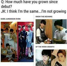 Good joke jungkook well btw i wish u were the same cute little maknae but u are so changed now.......;(